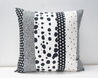Pillow Cover - Patchwork Pillow Cover, 20x20, black and white, monochrome, geometric, dots, cross print