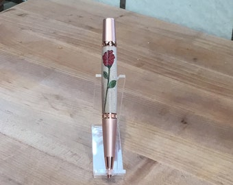 Handcrafted long stemmed rose inlay wood pen