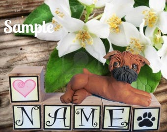 Red Brussels Griffon dog black mask PERSONALIZED with your dog's name on blocks by Sally's Bits of Clay
