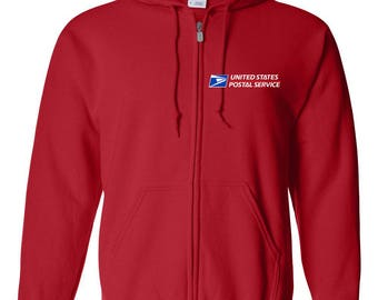 USPS Red Full Zipped Postal Hoodie - All sizes available!