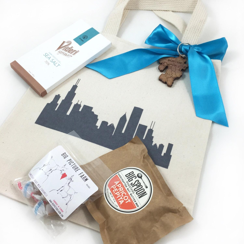 Set of 6 Chicago Skyline Wedding Favors Custom Screen Printed
