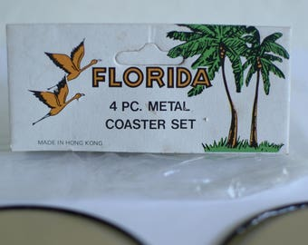 4 Piece Metal Florida Coaster set