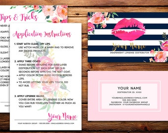 Lip business card etsy lipsense business cards buyers cards custom navy pink striped watercolor florals colourmoves