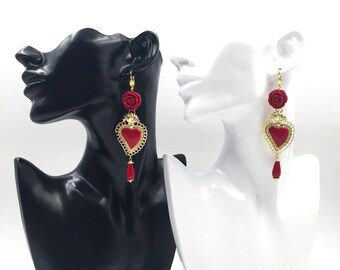 Ex voto earrings. Baroque earrings. Sacred heart earrings. READY TO SHIP