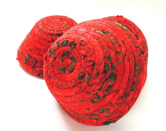 Red and Green Bowl-- Itty Bitty // Handmade Coiled Fabric Basket Home Decor Gifts for Her Craft Organizer Unbreakable