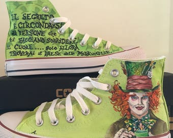Hand painted canvas shoes, custom, Mad Hatter, Alice in Wonderland