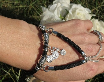 Harley Davidson Inspired black braided leather slave bracelet ring Motorcycle biker jewelry hand bracelet body jewelry finger bracelet