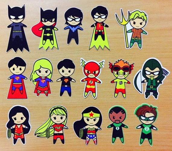 Items similar to Justice League DC and Fantstic Four Fan-made Chibi ...