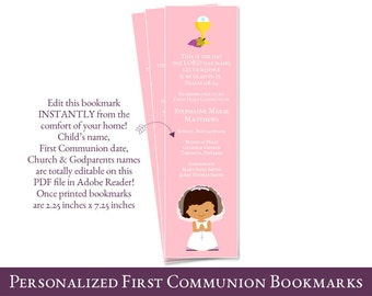 first communion favors for girls // Personalized First Communion Favor // 1st communion favor // PDF file You edit at home with ADOBE READER