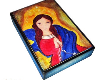 Mary Untier of Knots - Aceo print mounted on Wood (2.5 x 3.5) Folk Art  by FLOR LARIOS