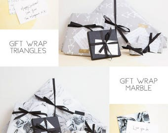 Luxury Gift Wrap For Clouds and Currents Products - Gift Wrap - Marble Gift Wrap - Monochrome Gift Wrap - Custom Gift Tag - Grey Gift Wrap