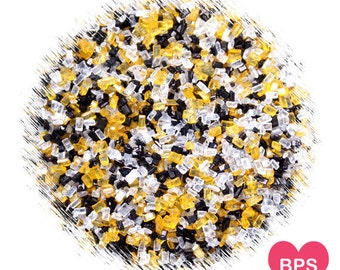 Bee Sparkling Sugar with Yellow, White & Black, Bumble Bee Sprinkles, Bumble Bee Sprinkles, Black Sprinkles, Yellow Sprinkles
