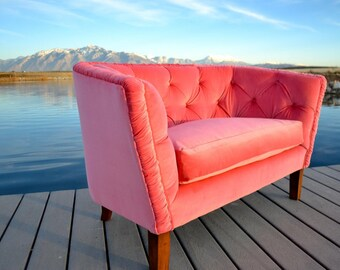 Settee Love Seat Handmade Tufted with Pink Velvet and Down Cushion