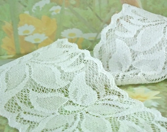 3yds Elastic Lace Ribbon  2 1/4 inch wide Floral Design Flower Trim White Elastic Stretch wedding Lace Headbands Elastic Lace by the yard