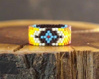 Beaded ring Native ring Boho ring Tribal ring Seed bead ring Bohemian ring|for|her Geometric ring Band ring gift|for|wife Trending ring