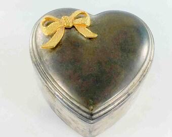 Sweetheart Box silver-plate heart shape & bow jewelry trinket