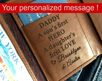 RFID wallet - Trifold Wallet -Gifts for him • Men's wallet • Birthday gift for man • Personalized wallet  Toffee 7133