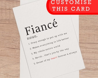 Fiance birthday card etsy fiance birthday card customised fiance bday card personalised card for fiance love romantic card bookmarktalkfo Image collections
