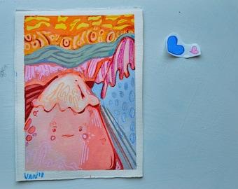 Mini Fuji Watercolor and Gouache Painting