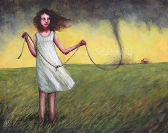 Tie Down the Wind, Art Print, Stormy Weather, Tornado, Surreal, Fairy Tale, Folk Tale, Prairie, Yellow Sky, Dark Clouds, White Dress, Knots