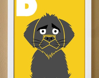 alphabet letter D, dog, custom colors, children's letter art, letter print, nursery decor, kids initials, 4X6, 5X7, 8X10