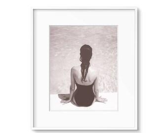 Printable Art, Beach House Art, Beach Decor, Swimming Pool Print, Contemporary Art, Black and White Print, Sepia Prints,  Beach House Decor