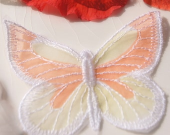 Vintage Embroidered Sheer Butterfly Applique, Vintage Embroidered Applique Butterfly, Embroidery Insect Appliques Wholesale #1163