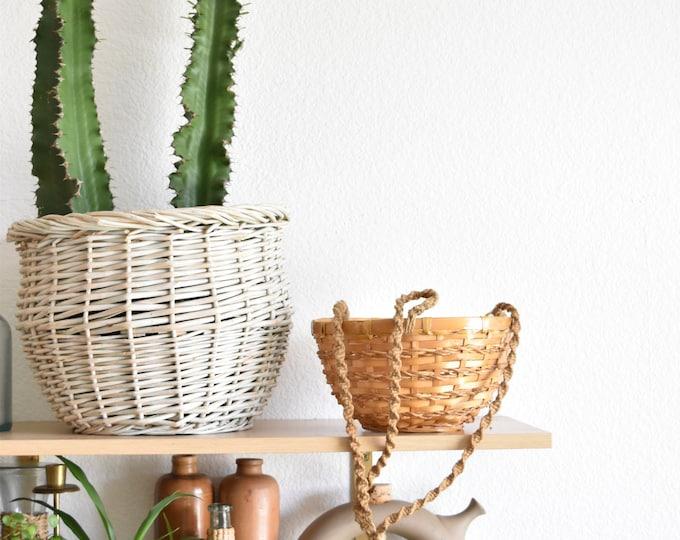 woven wicker rattan hanging basket planter / plant holder