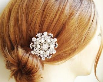 Vintage Style Bridal Hair Comb, Art Deco Style Swarovski Crystal Rhinestone & Pearl Wedding Hair Comb, Bridal Hair Accessories, BOUQUET