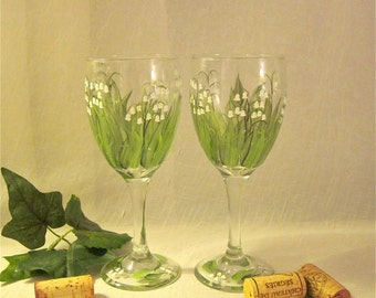 Free shiping Lily of the Valley hand painted wine glasses set of two