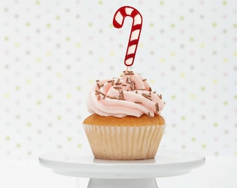 Candy Cane Cupcake Toppers | Christmas Cupcake Toppers | Winter Wonderland | Candy Land