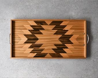 Wood Serving Tray | Tray with Handles | Wood Breakfast Tray | Modern Wood Tray | Wood Wall Art | Wood Tray | Geometric Tray | Ottoman Tray