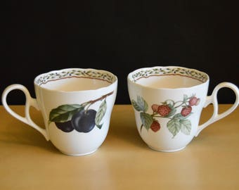 Set of 11 Noritake Royal Orchard 8 oz Cups, Raspberries Plums, Leafy Vine Graphic inside rim, Unique handle, Scalloped Whiteware, Primachina
