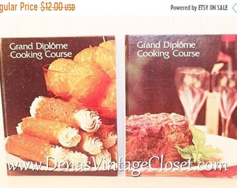 Vintage 1970's Grand Diplome'  Cooking Course Cook Books Volumes 1 & 2 Lot of 2  Books