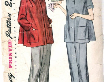 "Vintage 1948 Simplicity 2458 Maternity Slack Suit Sewing Pattern Size 12 Bust 30"""