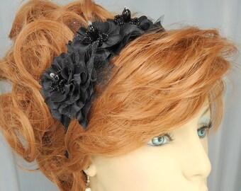 Flower Headband , Wedding Headband , Beaded Headband , Bridal Headband, Wedding Hair Jewelry, REX14-303