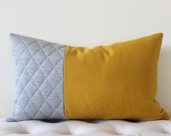 Mustard Yellow & Grey Quilting (Pillow Cover Only)