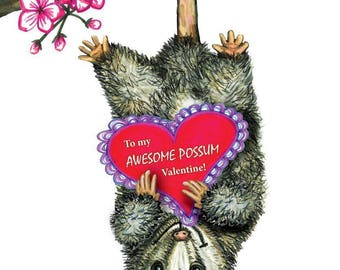 Awesome Possum Valentine Card