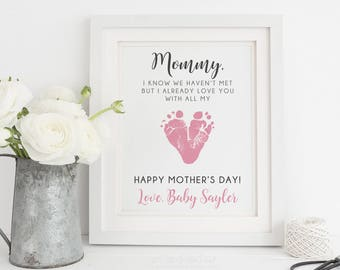 Expecting Mother Gift  for Mothers Day Mom Mommy to Be Gift from Unborn Baby, Personalized Baby Footprint Art, 8x10 inches UNFRAMED