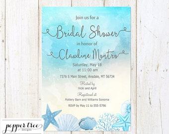 Seashell Bridal Shower Invitation blue and tan - Printable Watercolor Bridal Shower Digital Invitation  - Printable A007 I1