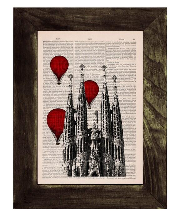 Barcelona Sagrada Familia, Red hot air Balloons print, Gaudi Architecture Monuments art, office decor,red balloons TVH019