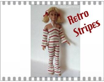 Vintage SL SKIPPER & SKOOTER Doll Clothes - Retro Stripes Mod Jumpsuit - Custom Fashion - by dolls4emma
