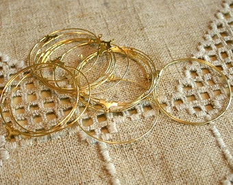 100pcs Earring Finding Beading Hoop Gold-Plated Brass 40mm With Loop
