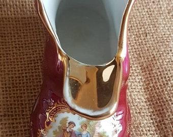 """LARGE Vintage """"Limoges"""" La Reine Ashtray- Vase- Fragonard Red Boot- Made in France"""
