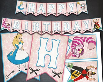 Alice in Wonderland Banner, Alice in Wonderland, Printable Banner, Party, Banner, Happy Birthday Banner, Favors, Digital Banner, DIY