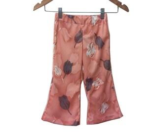 70s Blush Pink Tulip Floral Polyester Toddler Bellbottom Pants size 2T