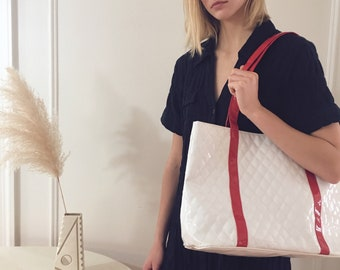 White & Red Patent Quilted Tote | Minimalist | 90s