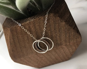 Delicate Circle Necklace, Copper Eternity Necklace, Dainty Necklace, Simple Sterling Silver Necklace, Stocking Stuffer for Mom