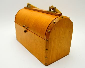 Vintage Dorset Rex Fifth Ave Purse, AS IS, Missing Clasp, Wood Box Purse, Gold Tone Metal Hardware, 1950s