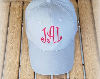 Crimson and Grey Monogrammed Ball Cap- Preppy Curlz Monograms-Girls' Hats-Birthday Gift-Alabama Ball Cap-